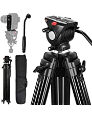 Heavy Duty Video Tripod with Vertical Shooting L Bracket, Lusweimi 75 inch Professional Aluminium Tripod with Fluid Head, Quick Shoe Plate and Mid-Level Spreader for DSLR cameras, Max Load 15.4 Lbs