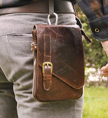 Leaokuu Mens Genuine Leather Coffee Fanny Small Messenger Shoulder Satchel Waist Bag Pack