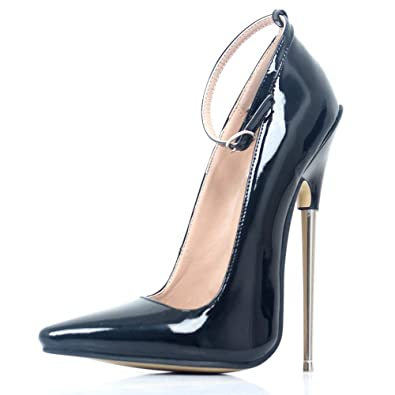 fbbf31e445 JiaLuoWei Women Pumps Thin Metal Heels Pointed Toe Ankle Strap Fashion Sexy  Shoes 18cm High Heel