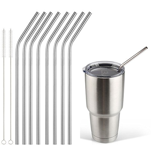Accmor 18/8 Stainless Steel Straws, FDA-approved Durable Reusable 10.5inch Long Bend Drinking Straws Set of 8 - for 20 & 30OZ YETI RTIC OZARK TERVIS Cups - with 2 Cleaning Brushes