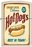 Zippo Hot Dogs Best In Town Poster Cream Matte Windproof Lighter NEW Rare