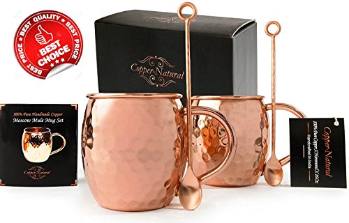 Luxury Moscow Mule Copper Mugs - Set Of 2 - 100% Pure Solid Gift Set , 16 Oz W/ BONUS Stirring Spoons – Handmade & Hammered – Free Bonus : Recipe Ebook – India's Top Quality