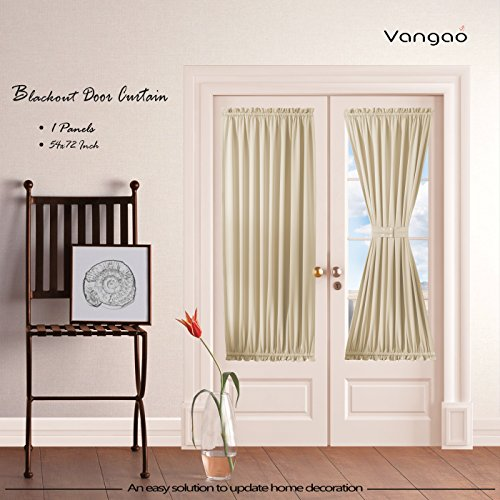 Beige Blackout French Door Curtain Panels by Vangao set of 1 Piece Darkening Thermal Insulated Sliding Door Curtains 54W By 72L Inches with Bonus Tieback for Patio Door/Glass Door - Glass Green Panel