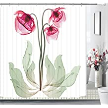 """Art Design Floral Fabric Shower Curtain 72""""x 72""""Bathroom Curtain,Waterproof Mold Mildew Resistant Unique Cool Designed with 12 Stainless Steel Hooks,Red"""