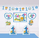 1st Birthday Boy Decorations Kit - Blue 1st lion and Number One Star Banner - Large Animal Lion - Toy card stock cutouts - Multi Colored - Blue - 18-Piece