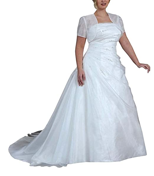 Dreamdress Women\'s Strapless Beads Plus Size Wedding Dress with ...