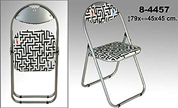 DonRegaloWeb - Silla de metal plegable con asiento y respaldo de polipiel acolchado decorada con dibujo de un laberinto.