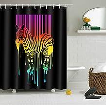 "LB Digital Printing Waterproof Polyester Fabric Bath Shower Curtain Pink Sripes Painting Zebra, 72""X72"" with hooks , Nice Artwork Bathroom Decor"
