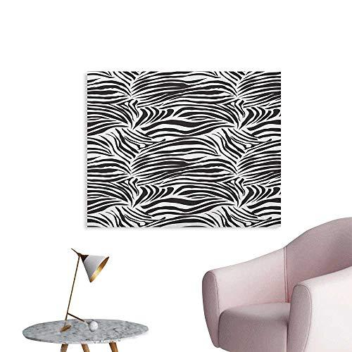 Anzhutwelve Zebra Print Wallpaper Striped Zebra Animal Print Nature Wildlife Inspired Simplistic Illustration The Office Poster Black White W32 ()