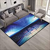Outdoor Patio Rug,Basketball Basketball Arena Court with Fans and Competition Theme Game Excitement Print,Anti-Slip Doormat Footpad Machine Washable,5'10'x6'10', Navy Black
