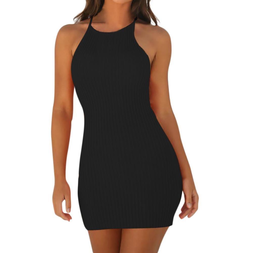 Tloowy Mini Dress, Women Sexy Halter Neck Sleeveless Short Bodycon Dress Summer Party Club Dress Solid Color (Black, M)