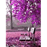 New Paint by Number Framed, Digital Oil Painting with Frame + Romantic Waiting 16 X 20 inch + Diy Oil Painting Kits for Adults Beginner Kids PBN with Wooden Frame Woods