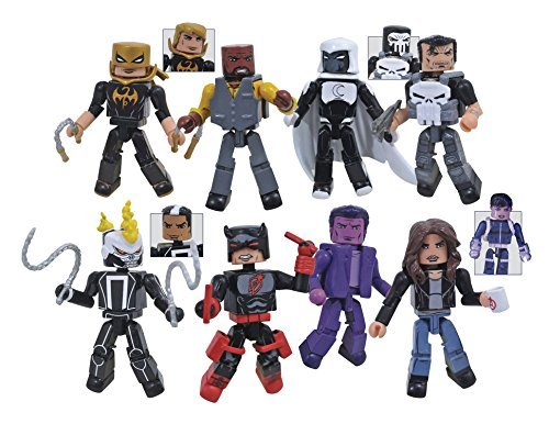 Marvel Defenders Minimates Series 75 Set of 4 Two Packs include Luke Cage, Iron Fist, Daredevil, Ghost Rider, Punisher, Moon Knight, Jessica Jones, Purple Man & Quake Action Figure