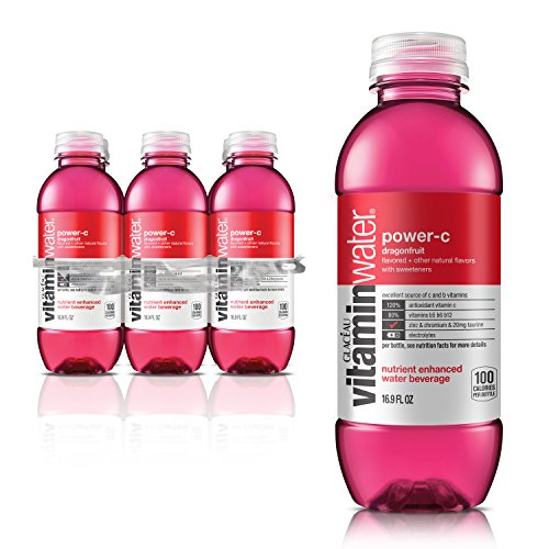 vitaminwater power-c electrolyte enhanced water w/ vitamins, dragonfruit drinks, 16.9 fl oz, 6 Pack