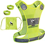 Reflective Vest for Running, Jogging, Walking with Pocket and Two 3M Reflective Safety Bands, for Women, Men, Comfortable Adjustable Fit, Lightweight