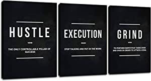 """Motivational Posters Inspirational Wall Art Motivation Canvas Paintings Wooden Framed Hustle Wall Decor Black 3 Pieces Office Wall Art for Living Room Bedroom Home Decor Easy to Hang(36""""Wx16""""H)"""