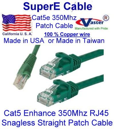 UTP Cat5 Patch Cable 25 Ft, 100/% Copper 24Awg Green