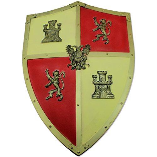 Swordsaxe Foam castilian Levante Shield Replica Opposing Lions Fleur De Lis Medieval Larp (Shield Lionheart)
