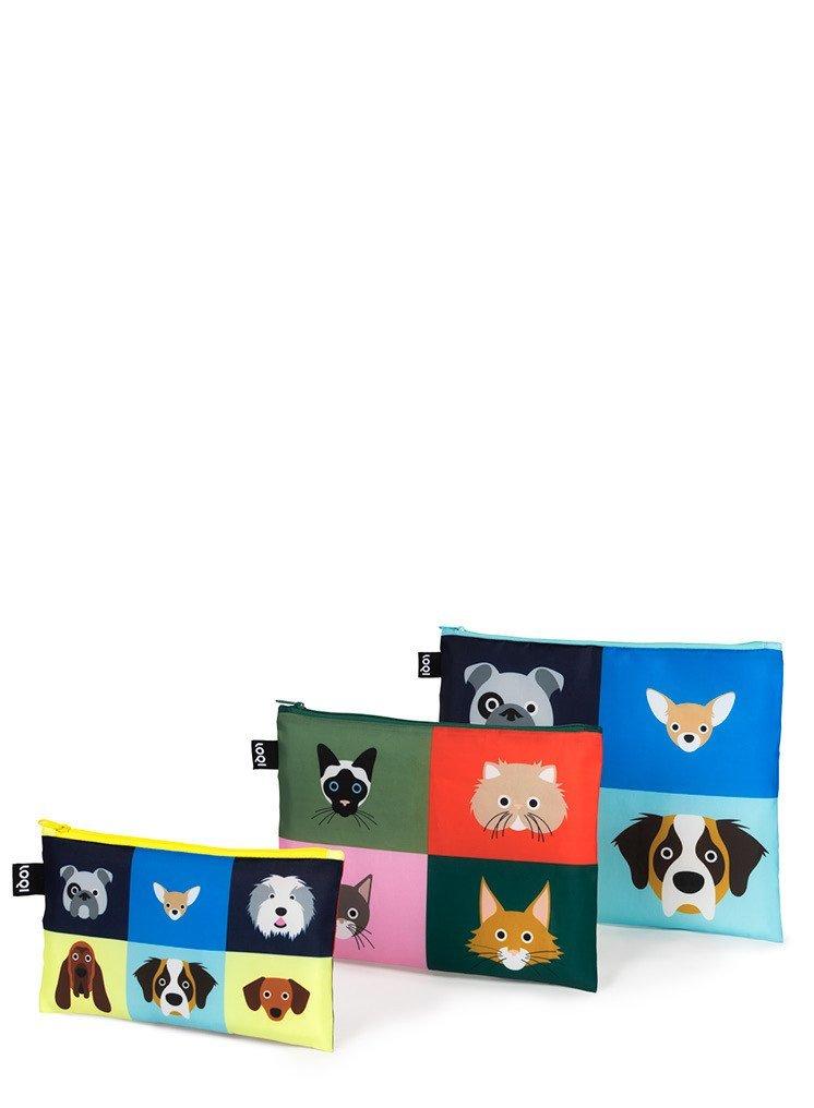 LOQI Stephen Cheetham Dogs & Cats 3 Zip Pockets ZP.SC.CD