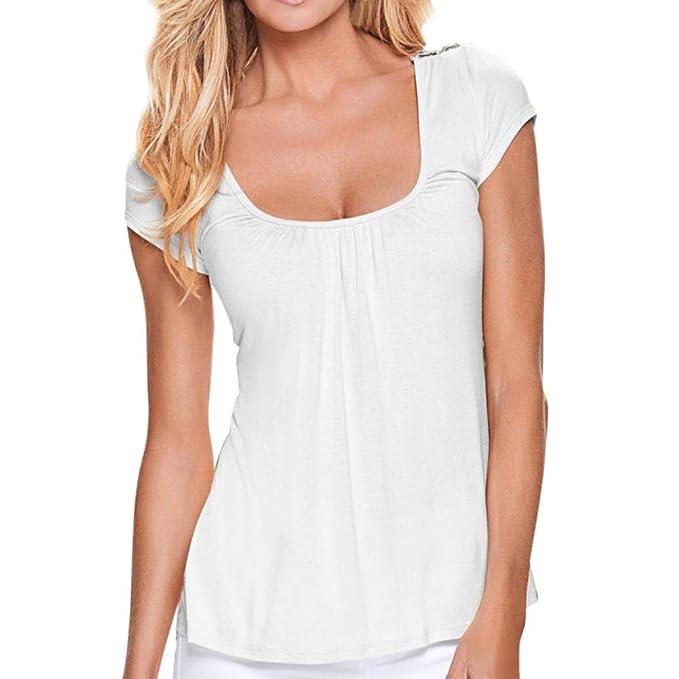 Camiseta para Mujer Casual Manga Corta O Tops De Cuello Empalme Encaje Especial Estilo Blusa Elegante