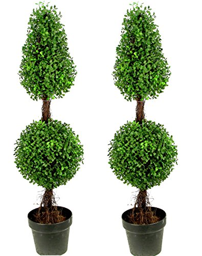 Admired By Nature 3' Artificial Boxwood Leave Double Ball Shaped Topiary Plant Tree in Plastic Pot, Green/Two-tone- Set of 2 (Topiary Card)
