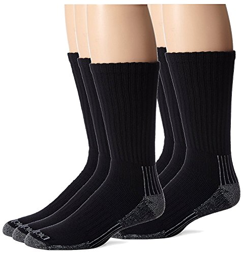 Dickies Men's Heavyweight Cushion Compression Work Crew Socks, Black, 6 Pair, Size 6-12
