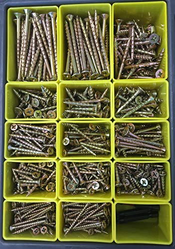 Site-Case Interior Wood Screw Kit Contains 805 Screws in 8 Popular Sizes by Lightning Fasteners (Image #4)