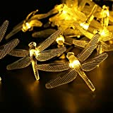 YIWULA LED Solar Hard Dragonfly Light String Christmas Party Decoration (yellow)