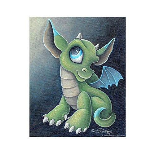 Small Green Dragon 8x10 Fantasy Art Print