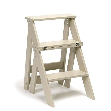 Scaletta di legno pieghevole e utile in cucina,seggiola 2 in 1 ...