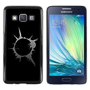 Abstract Splash Blast - Metal de aluminio y de plástico duro Caja del teléfono - Negro - Samsung Galaxy A3 / SM-A300