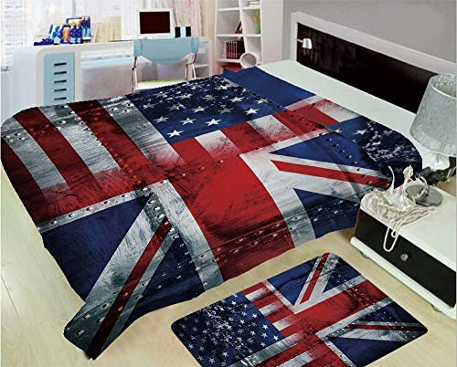 3D Printed Throw Blanket Custom Design Floor Mat Carpet Rug,Theme Composition of UK and USA Flags Vintage,Well Keep Warm with Supersoft Hand Feeling,add a lot of Color to Your ()