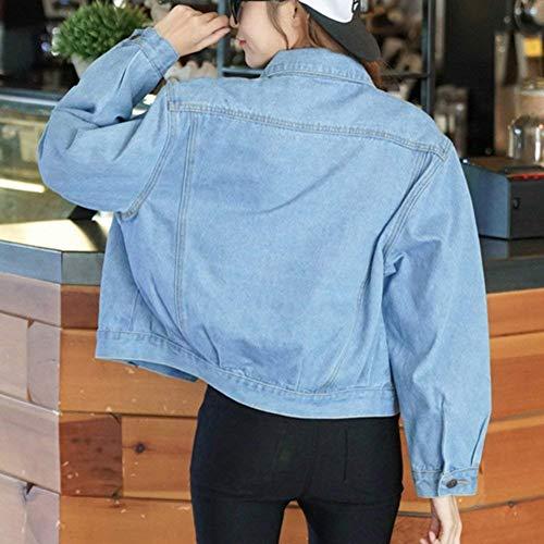 Tasche Donna Outerwear Giacche Single Accogliente Casuale Anteriori Manica Bavero Corto Hellblau Lounayy Breasted Lunga Denim Cappotto Autunno qpE1cZwnf