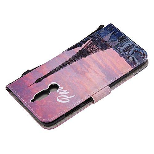 Laybomo Schuzhülle Huawei Mate 10 Lite Ledertasche Hülle Weiches Silikon TPU Beutel mit Kartensteckplatz Stehen Bilderrahmen Brieftasche Schale Handyhülle für Huawei Mate 10 Lite, Eiffelturm