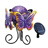 Purple Solar Lighted Garden Gazing Ball Decoration with Metal Butterfly Stand