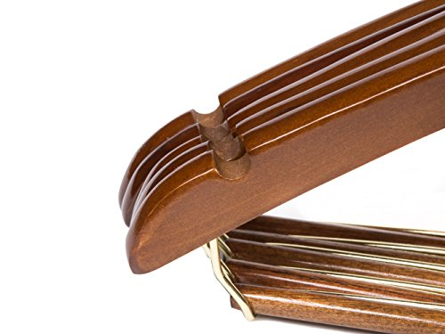 Quality Hangers 25 Curved Wooden Hangers Beautiful Sturdy Suit Coat Hangers with Locking Bar Gold Hooks Walnut Finish (25) by Quality Hangers (Image #5)
