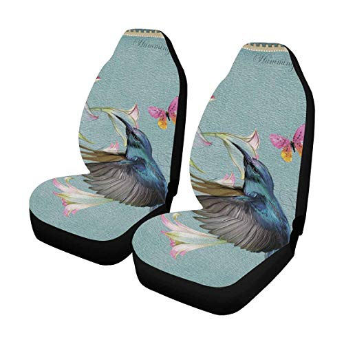 INTERESTPRINT Custom Hummingbird Floral Car Seat Covers for Front of 2,Vehicle Seat Protector Fit Most Car,Truck,SUV,Van ()