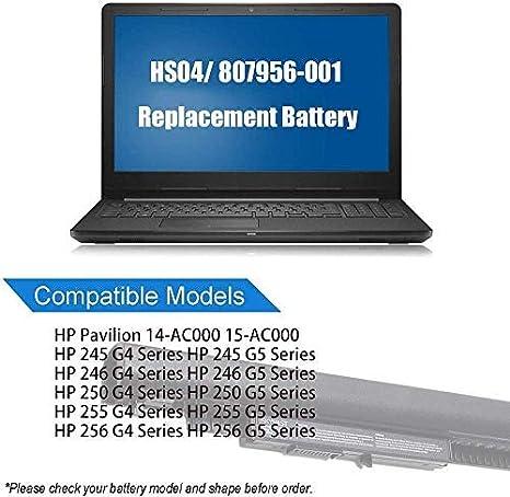 Amazon Com Laptop Battery For 807956 001 Hp Hs04 Hs03 807957 001 807612 421 Pavilion 240 250 G4 G5 Notebook Pc Home Audio Theater