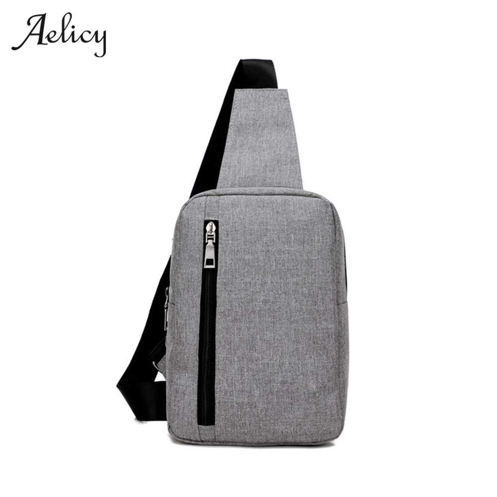 New Mens Chest Bag Messenger Bags Casual Canvas Zipper Solid Cross body Versatile Shoulder