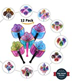 Bargain World 10'' Cupcake Folding Fans [12-Pack] | Fun & Exciting Hand Fans For Kids & Teenagers From Our Huge Collection | Sticky Notes Included