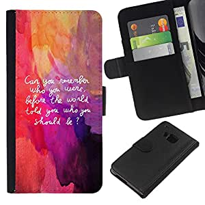 KingStore / Leather Etui en cuir / HTC One M9 / Cita Art Be Yourself Recuerde Vida Interior Auto