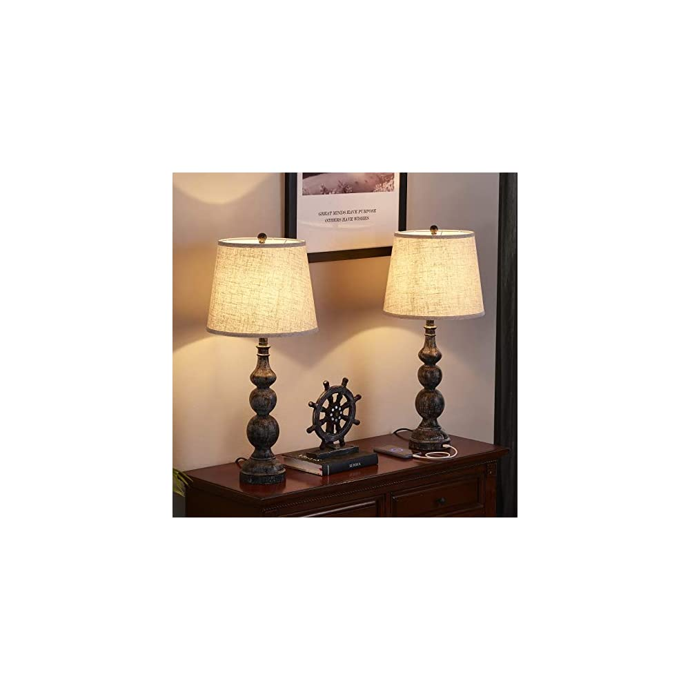 USB Farmhouse Lamp Sets, Traditional Table Lamp Set of 2 with Dual USB Ports, 27.8'' H Bedside Lamp Sets, Industrial…