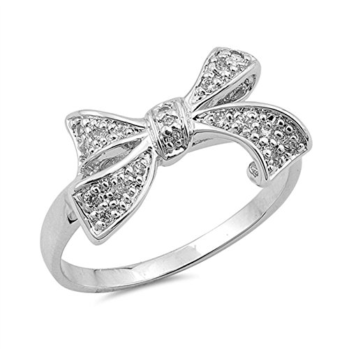 Ribbon Knot Ring (Clear CZ Beautiful Ribbon Bow Knot Ring New .925 Sterling Silver Band Size 8)