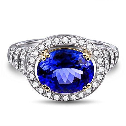 Lanmi 2.88ct Oval Cut 8x10mm Natural Tanzanite Diamonds Engagement Wedding Ring 14kt Two-Tone Gold Band for Women Ladies - Ring Tanzanite Two Tone