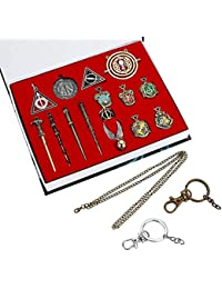 15PCS in One Set Magic Wand Hogwarts House Badge in Gift Box with Keychain Necklace (15PCS)