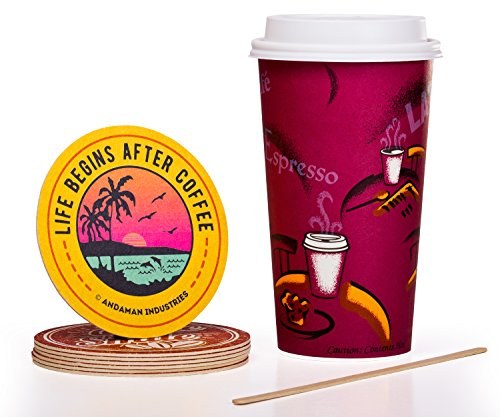 Solo Bistro 16 oz Hot Paper Coffee Cups (100ct) Bundle - Cup, Lid, Stir Stick, and Coaster - Eco-Friendly, BPA Free, Leak Resistant