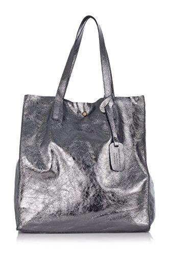 Laura Moretti - Bolso de piel auténtica brillante, estilo bolso de compras Plateado