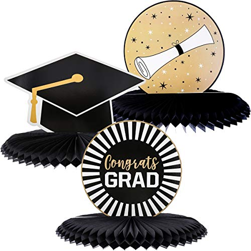 Juvale 3-Pack Black and Gold Honeycomb Graduation Centerpieces, Table Party Decorations, 3 Designs