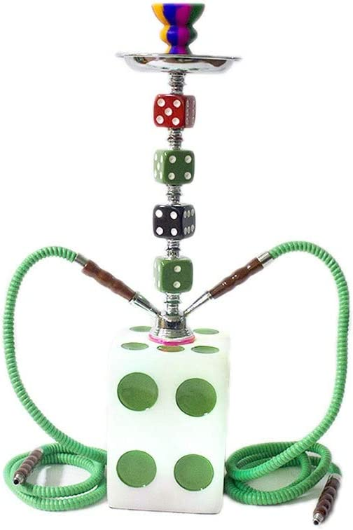 QINJLI Un Conjunto Completo de 19 Pulgadas de Color 2-Pipas de Agua en Forma de Dados Terminado cachimba con Luces LED, Ideal for Fiestas Bar (Color : Green)