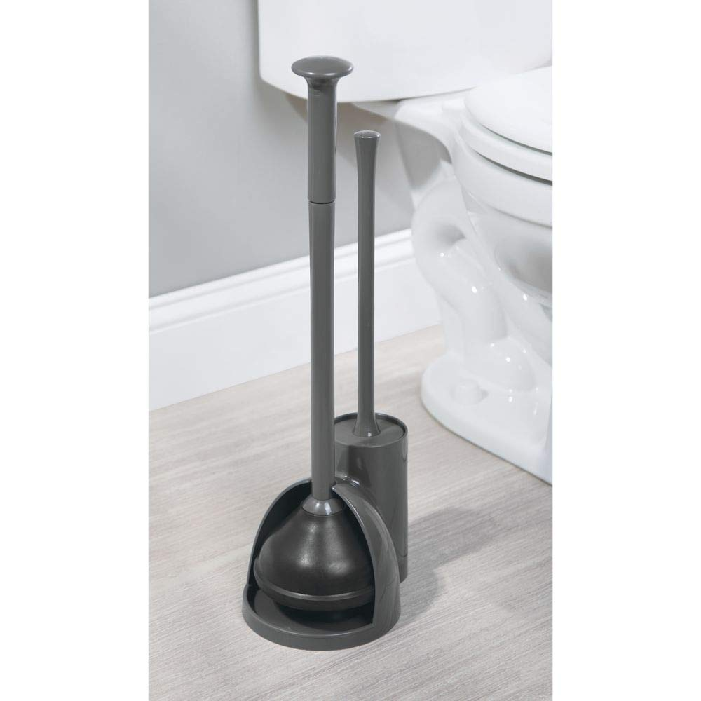 mDesign Modern Slim Compact Freestanding Plastic Toilet Bowl Brush Cleaner and Plunger Combo Set Kit with Holder Caddy for Bathroom Storage and Organization - Covered Lid Brush, 2 Pack - Charcoal Gray by mDesign (Image #4)